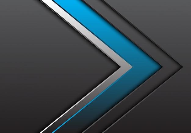 空白スペース方向の背景を持つ青い銀灰色の矢印。