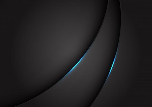 ダークグレーグレーのメタリックカーブ上の青い光が背景をオーバーラップします。