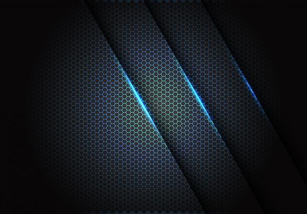 暗い灰色の背景で六角形のメッシュパターンに青い光。