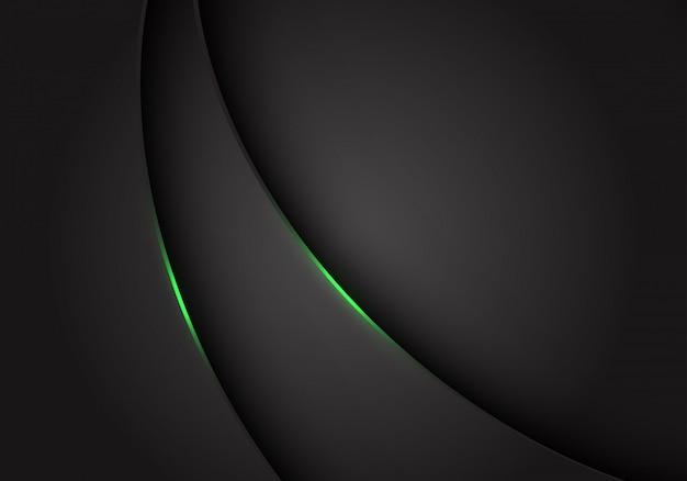 濃い灰色の灰色の金属曲線上の緑色の光が背景をオーバーラップします。