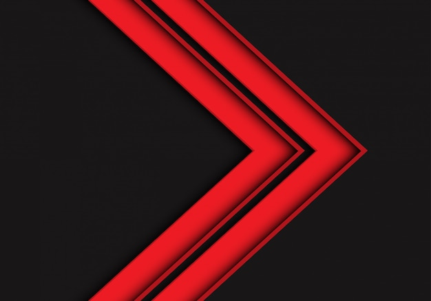 Красная стрелка направления на темно-сером фоне футуристический.