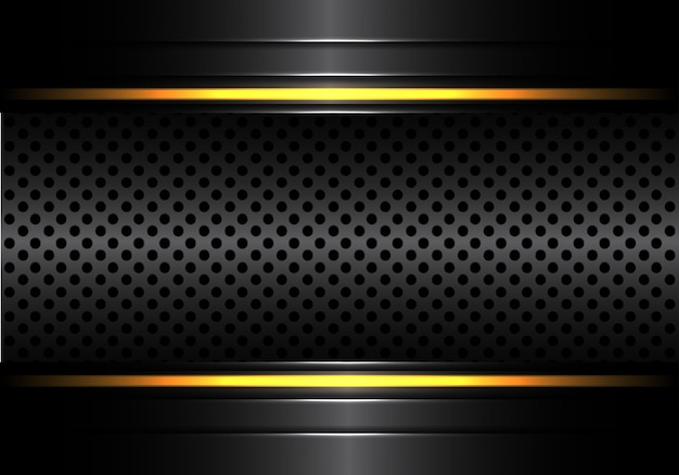 黄色の線の明るい背景と黒のメタリックサークルメッシュ