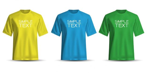 Реалистичные футболки желтый синий зеленый на белом фоне.