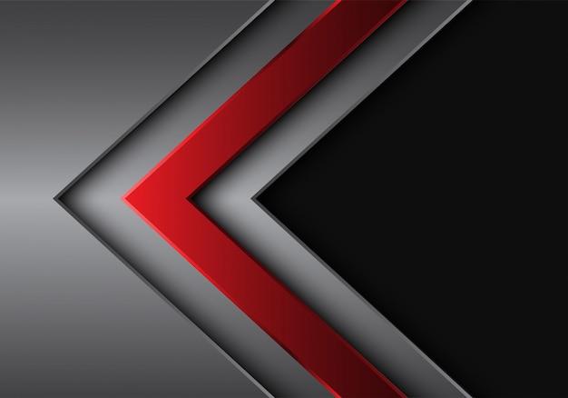赤銀矢印方向灰色の空白スペースの背景。