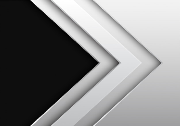 白い金属矢印方向暗い灰色の空白スペースの背景。
