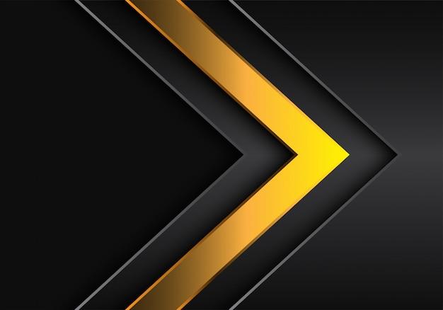 黄色の矢印方向暗い灰色の空白スペースの背景。