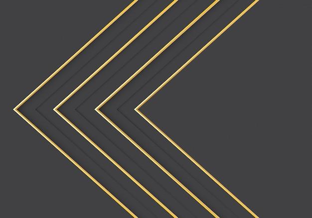 灰色の豪華な背景にゴールドライン矢印方向。