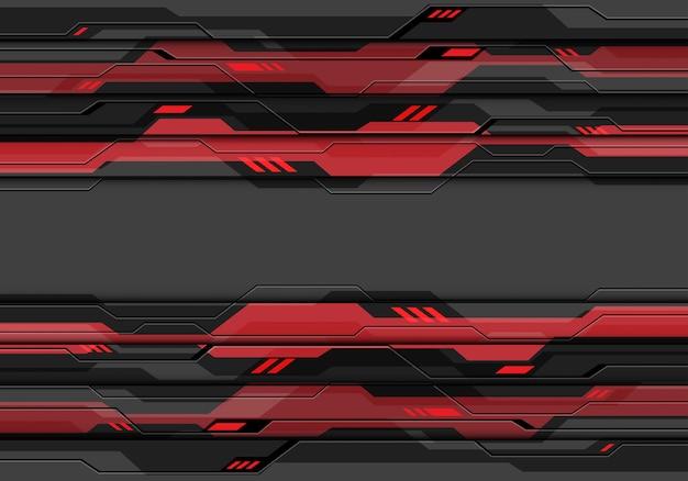 赤い光パワー技術の背景を持つ暗い灰色金属サイバー回路