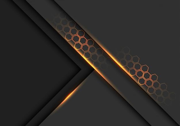 抽象的な灰色メタリックオーバーラップゴールドライトライン六角形の背景
