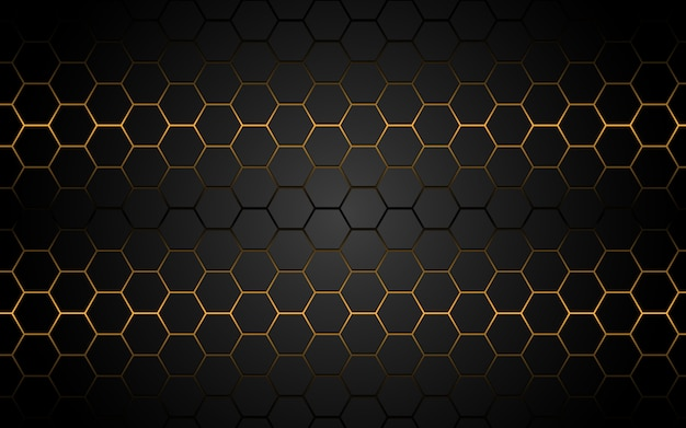 灰色のモダンで豪華な未来的な抽象的な黄色光六角形ライン。