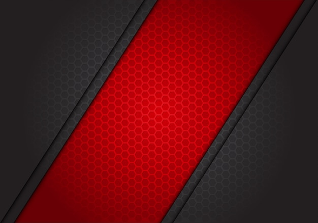 暗い灰色の六角形メッシュの背景に抽象的な赤いバナースラッシュ。
