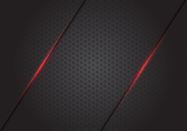暗い灰色の六角形メッシュの背景に抽象的な赤い光のラインスラッシュ。