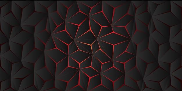 暗い灰色の背景テクスチャに抽象的な赤い光ポリゴンクラック。