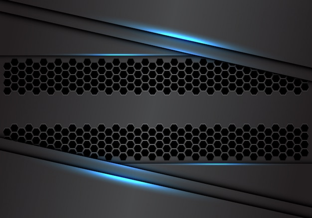 青い光モダンで豪華な未来的な産業技術の背景を持つ抽象的な灰色の金属重複六角形メッシュ。