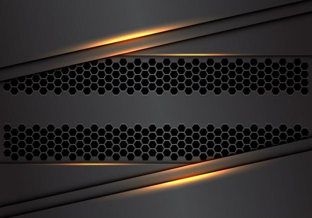金光モダンで豪華な未来的な産業技術の背景を持つ抽象的な灰色金属重複六角形メッシュ。