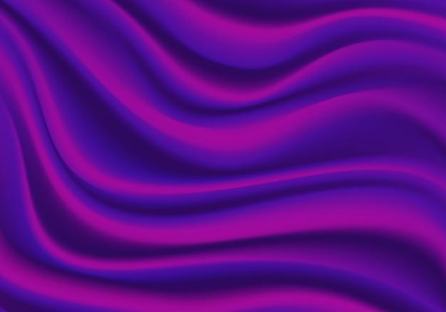 Реалистическая иллюстрация текстуры предпосылки волны сатинировки фиолетовой ткани.