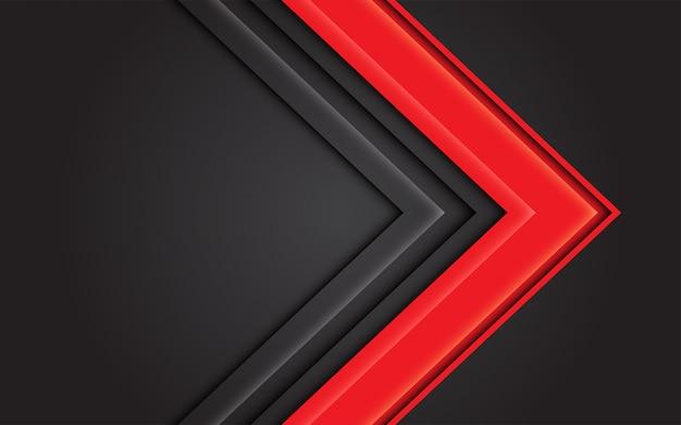 暗い灰色のモダンな未来的な背景に抽象的な赤い光の矢印の方向。