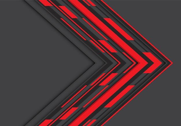 灰色の空白スペースの背景に赤黒矢印の幾何学的な方向。