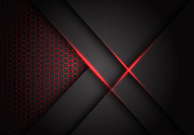 灰色のメタリックオーバーラップ赤光六角形メッシュ背景ベクトル。