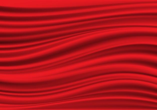 Реалистичная красная ткань атласная волна фоновой текстуры.
