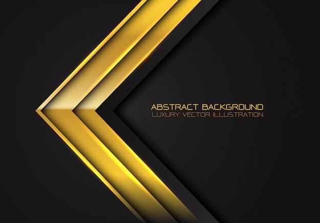 Золотая стрелка металлик направление на черном фоне.