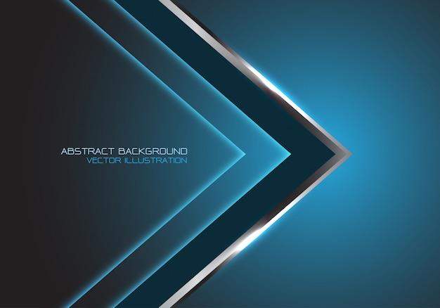 Серебро черная стрелка направление скорости, синий роскошный футуристический фон.