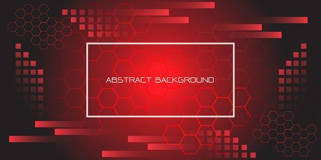 白いフレームとテキストの未来的な背景を持つ赤黒の幾何学的な六角形。