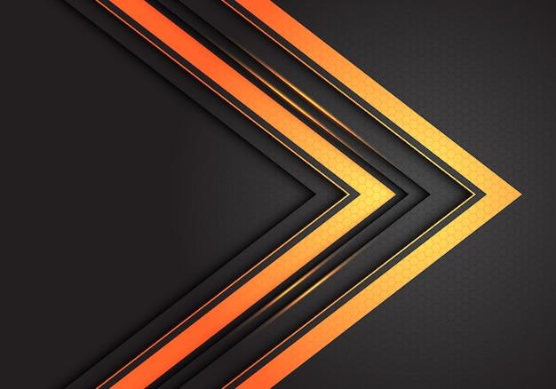 暗い灰色の六角形メッシュの背景に抽象的な二重金光矢印の方向。