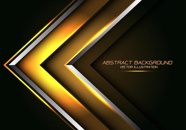 抽象的なゴールドシルバーライン矢印方向豪華な未来的な背景。