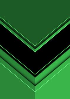 緑のモダンな未来的な背景に黒い矢印の方向。
