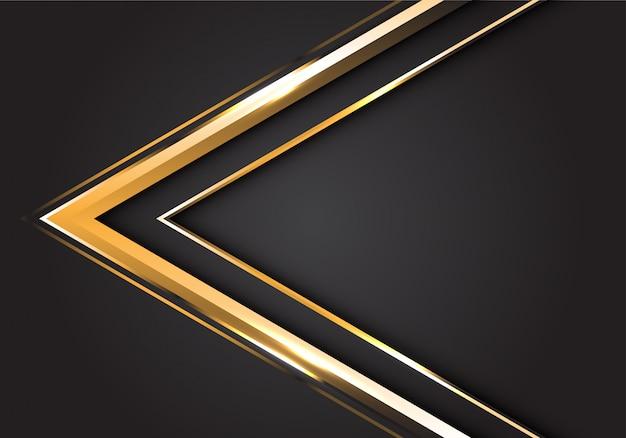 灰色の背景にモダンで豪華な未来的な金の矢印の方向。