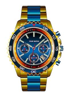 現実的な腕時計クロノグラフゴールドブルーメタリック高級ホワイト