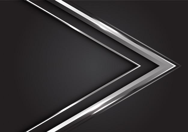 灰色の背景モダンで豪華な未来的な銀の矢印の方向。