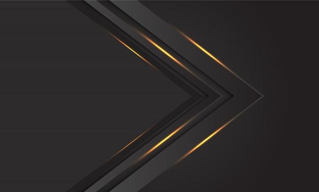 空白の背景を持つ抽象的な暗い灰色金光矢印方向。