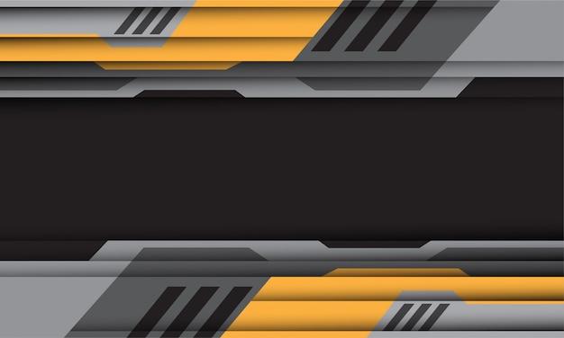 Желто-серый кибер шаблон на темно-сером фоне пустого пространства футуристической технологии.