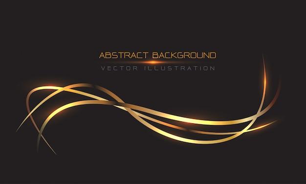 黒の豪華な背景に光の抽象的なゴールドラインカーブ。