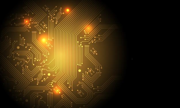 Технология золотой цепи материнской платы компьютера с пустым пространством футуристический фон.