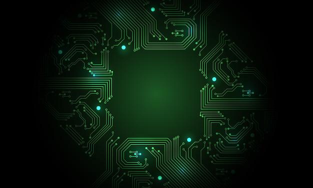 Технология зеленый цепи материнской платы компьютера футуристический фон.