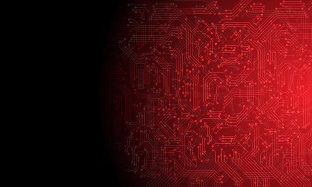 Компьютер красной цепи технологии красный с предпосылкой пустого пространства футуристической.