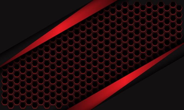 暗い灰色のデザインモダンな未来的な背景に抽象的な赤い金属の三角形の六角形のメッシュ。
