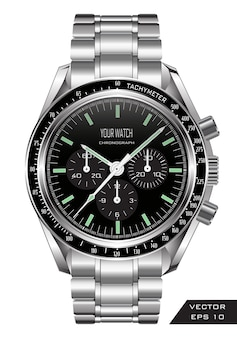 ステンレススチールの贅沢な時計が現実的な時計クロノグラフ。