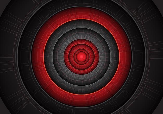 赤い黒丸のパワーテクノロジーは未来的です。