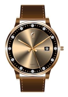 ゴールド腕時計ダイヤモンドブラウンレザーストラップ