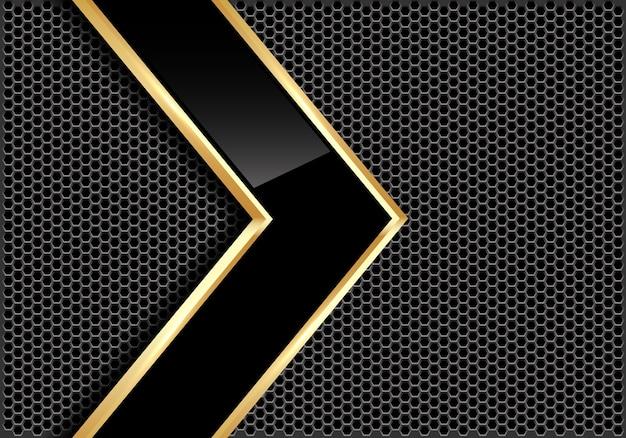 灰色の円のメッシュの背景に抽象的な黒光沢のある金の線の矢印。