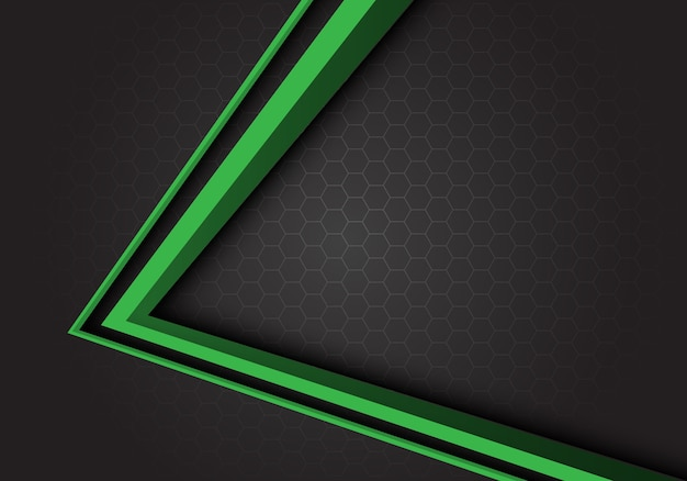Зеленая стрелка направления серый шестиугольник сетка фон.