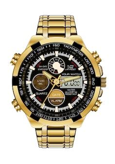 現実的な時計クロノグラフ時計ゴールドブラック。