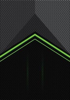 Зеленая стрелка света на сером фоне черного круга.