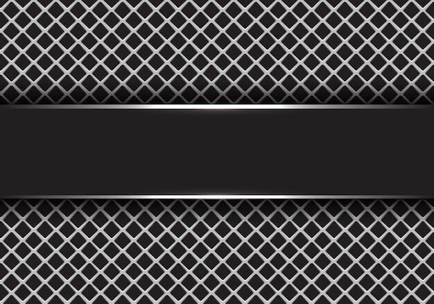 灰色の四角いメッシュの背景にブラックシルバーのバナー。