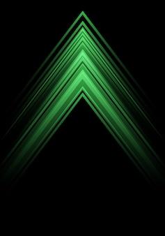 黒の背景に緑のライトの矢印の速度の方向。
