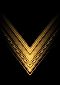 黒い背景に黄色の光の矢印の速度の方向。